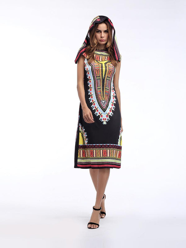 New Dress Female Fashion Summer European And American Print Hooded Skirt Summer Women Clothing