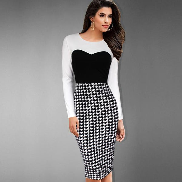 Women European Style Dress Houndstooth Slim Black And White Long Sleeve Pencil Skirt