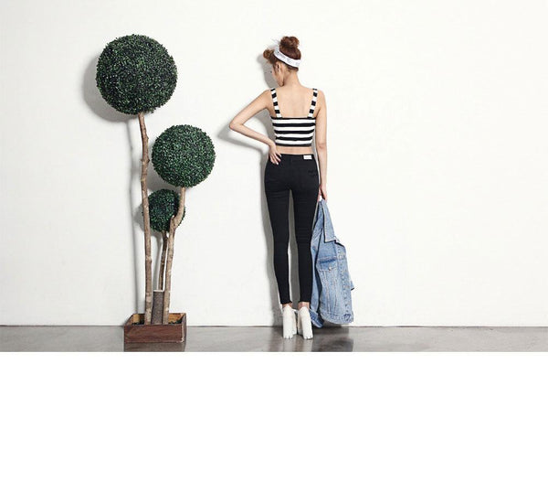 Women Summer New Style Korean Fashion Sexy Striped Camisole Short Top Bottoming Shirt
