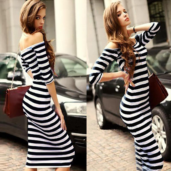 Amazon New European And American Fashion Striped Waist Neck Off Shoulder Bag Hip Dress Mid-length Skirt European And American Women