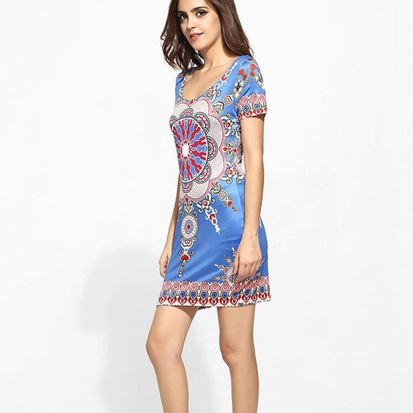 European And American Women Fashion Trend Ethnic Print Dress Mid Skirt One Step Skirt Girl