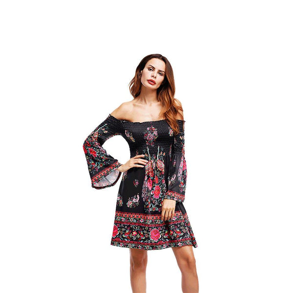 Women European And American Style Print New Dress One-shoulder Dress