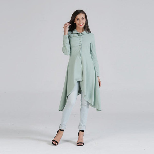 Autumn And Winter Korean Version Of Slim Woolen Woolen Coat Women Solid Color Slim Mid-length Knee-length Woolen Coat