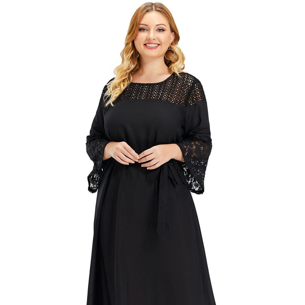 Spring Plus Size Long Sleeve Dress Solid Color Black Skirt  Women Clothing