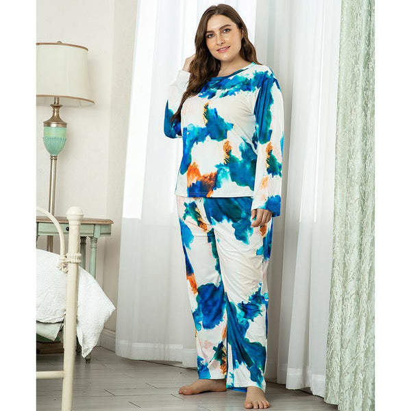 Plus Size Women Spring Home Service Two-piece Suit Printing Comfortable Loose Long-sleeved Trousers