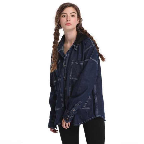 Autumn And Winter Clothing New Harajuku BF Wind Straight Loose Long-sleeved Denim Jacket Women Wild Top