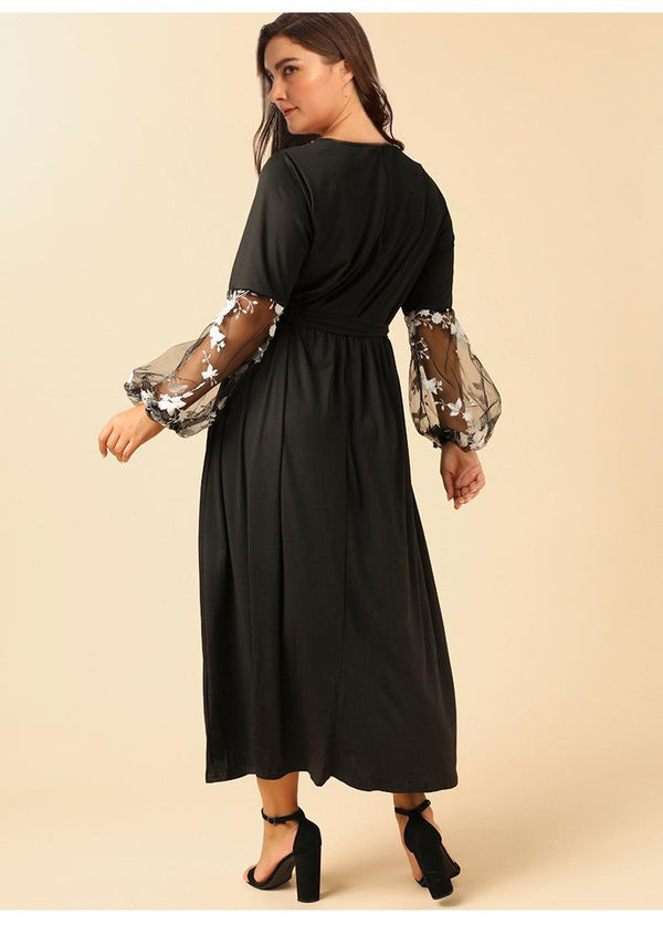 Women Plus Size Autumn New Round Neck Long Sleeve Stitching Lace Embroidered Dress
