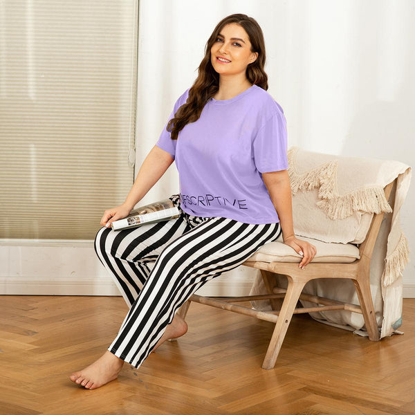 European Plus Size Pajamas Spring Home Service Two-piece Suit Striped Printing Comfortable Loose Short-sleeved Trousers