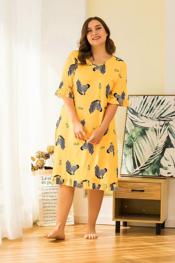 Spring Pure Cotton Nightdress Short-sleeved Large Size Cute Loose Mid-length Thin Summer Cotton Pajamas