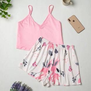 Imitation Silk Suit Ladies Ice Silk Print Pajamas Summer Sling European And American Home Service