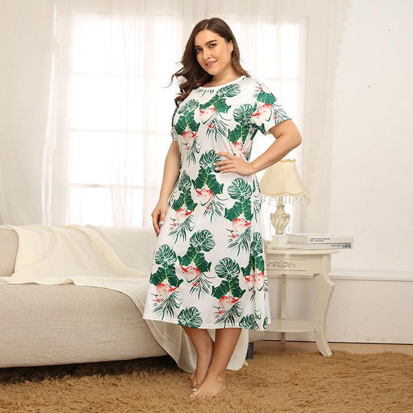 Printed Warm Home Nightdress Pajamas Summer Over The Knee Mid-length Skirt Temperament European Furnishing Service