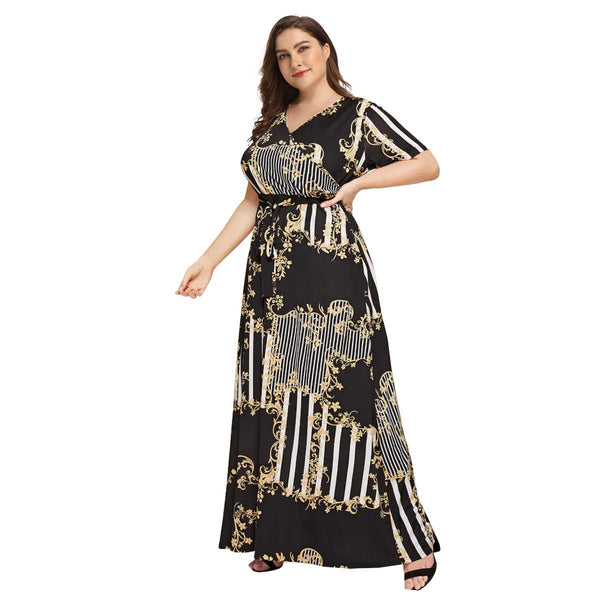 Europe And America V-neck Slit Long Sleeve Lace Waist Printed Beach Long Skirt Dress