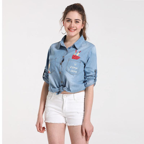 European Personality Denim Jacket Shirt Top Women Washed Frayed Spring And Summer