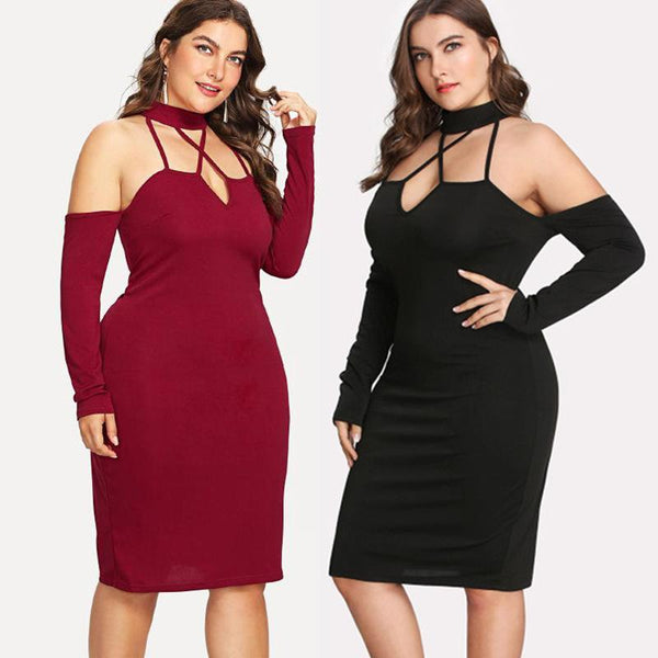 European And American Summer Women Sexy Tight-fitting Nightclub Solid Color Dress Female
