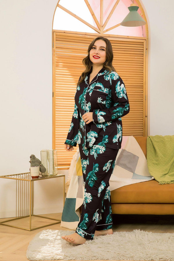 Plus Size Spring New Cardigan Long-sleeved Silk Pajamas Female Lapel Home Service Suit Two-piece Suit