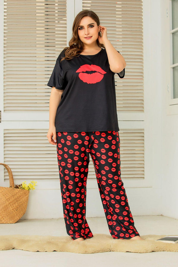 Plus Size Women Spring Home Service Two-piece Suit Printing Loose Short-sleeved Trousers And Short Sleeves