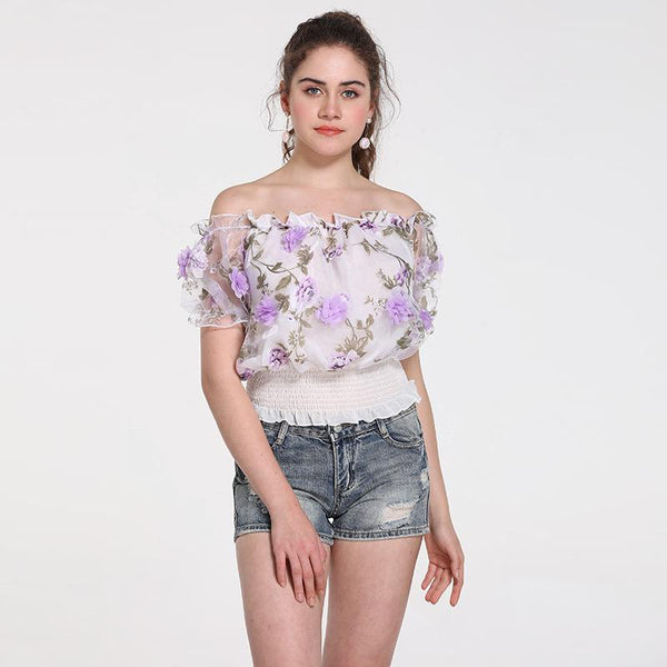 Summer New Korean Version Of The Word Collar Short Wood Ear Waist Short-sleeved Chiffon Shirt Blouse Women