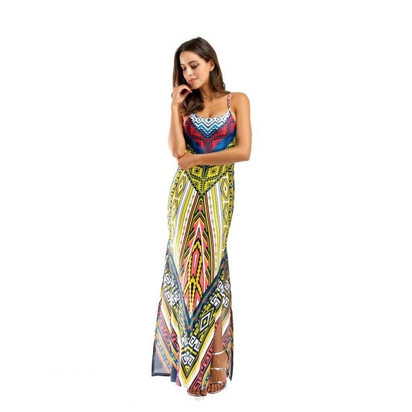 Women Plus Size European And American Printed Vest Long Skirt New Dress Dress