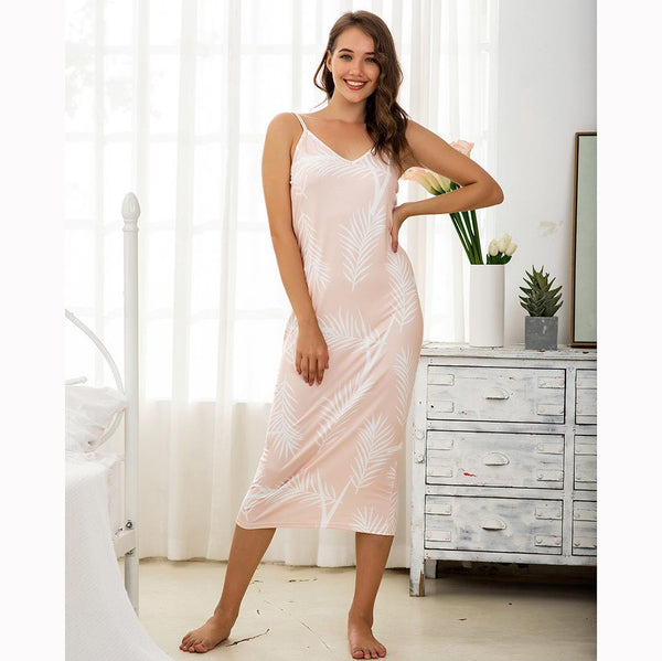 Ladies Knitted Printed Pajamas Summer Sling European And American Home Service