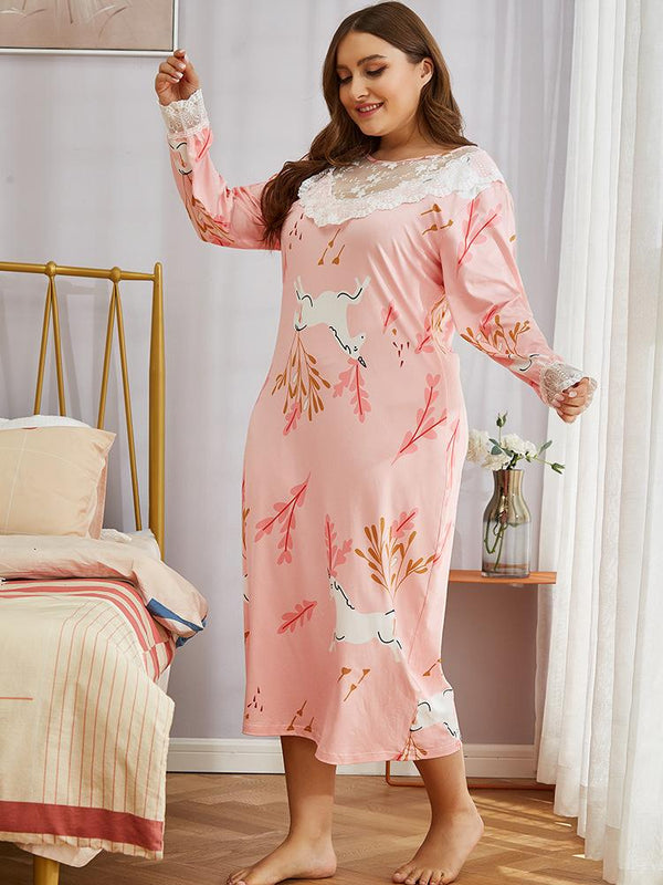 European Ice Silk Nightdress Loose Mid-length Amazon Nightdress Summer Plus Size Cartoon Home Service
