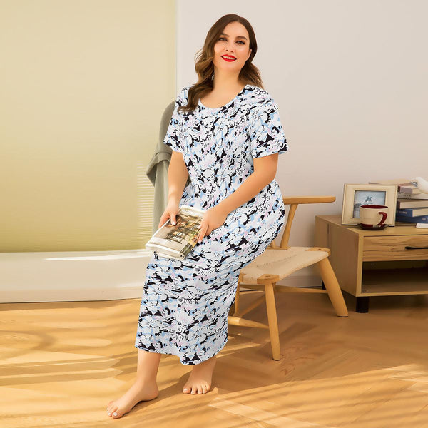 Europe Flowers Short-sleeved Bag Hip Long Skirt Sexy Printing Suspender Dress Home Service Pajamas