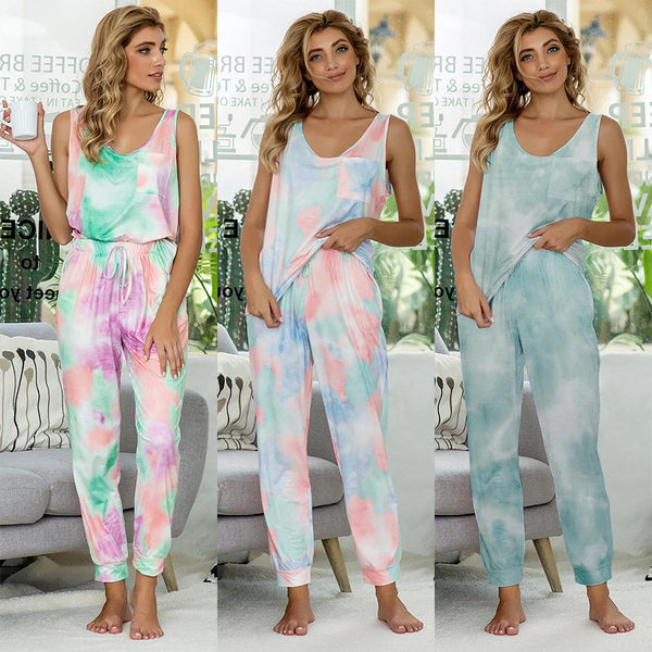 Tie-dye Long One-piece Homewear Women Summer New Sleeveless Loose Casual Pajamas