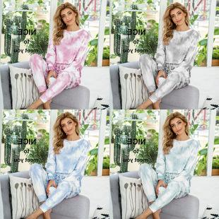 Europe New Casual Camouflage Printed Tie-dye Autumn And Winter Pajamas Long-sleeved One-piece Home Wear