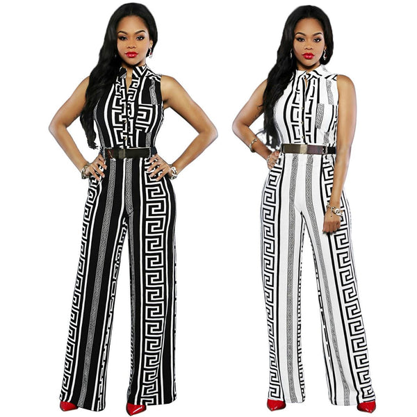 European And American Fashion Women Loose-fitting Casual Jumpsuit Printed Straight Trousers