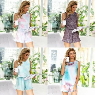 Europe New Casual Hang Strip Printing Tie-dye Autumn And Winter Pajamas Long-sleeved Suit Home Service