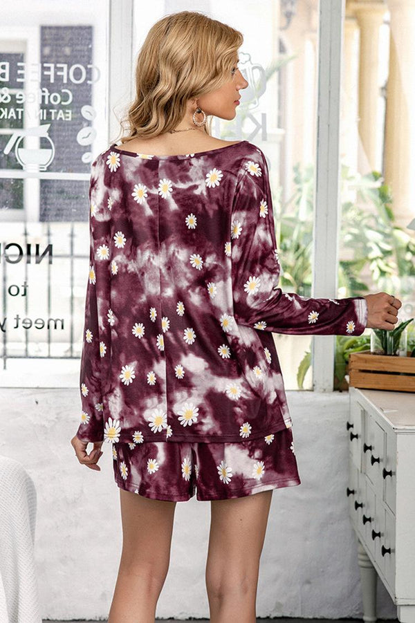 Europe And America New Casual Printed Tie-dye Autumn And Winter Pajamas Long-sleeved Suit Home Service