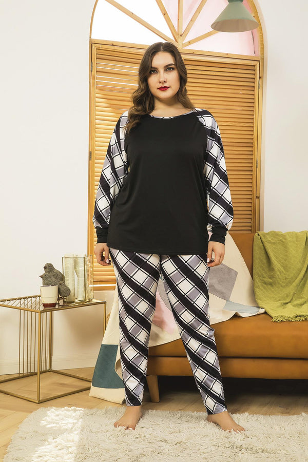 Plus Size Women Spring Home Service Two-piece Suit Printing Comfortable Loose Long-sleeved Trousers Cross-border