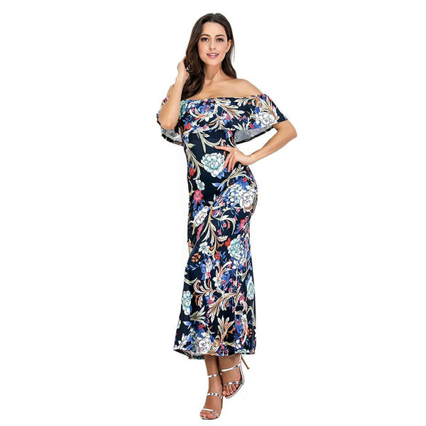 One Word Collar Wrapped Chest European And American Women Ruffle Print Long Skirt Dress