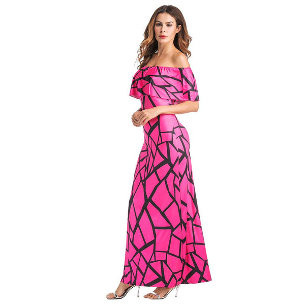 One-neck European And American Women Sexy Strapless Long Skirt Digital Print Dress