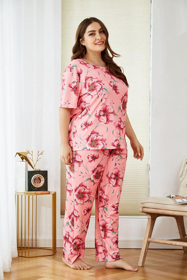 Plus Size Women Spring Home Service Two-piece Suit Flower Printing Comfortable Loose Short-sleeved Trousers