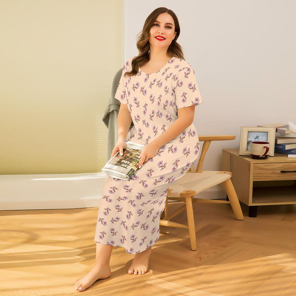European Flowers Leaking Back Loose Long Skirt Sexy Printed Short-sleeved Dress Home Service Pajamas