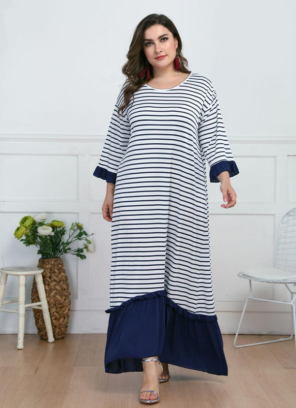 Large Size Round Neck Three-quarter Sleeves Loose Long Skirt Striped Pleated Long Dress