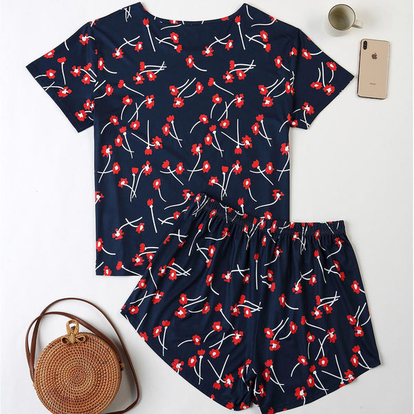 Plus Size Women Spring And Summer Home Service Two-piece Suit Printed Loose Short-sleeved Shorts