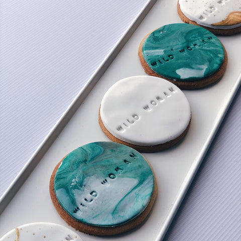 Personalised Stamped Marbled Vegan Biscuits (VE)