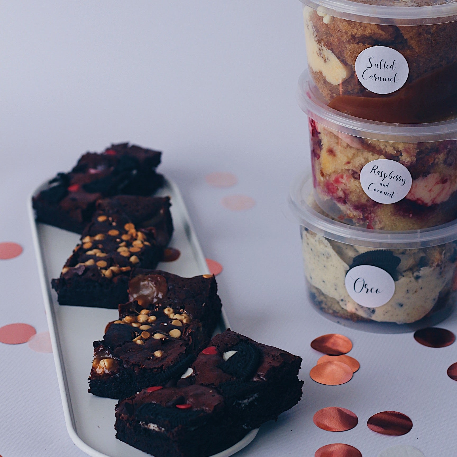 Chocolate and Raspberry Cake Tub and Brownie