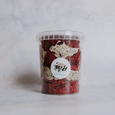 Vegan Red Velvet and Oreo Cake Tub
