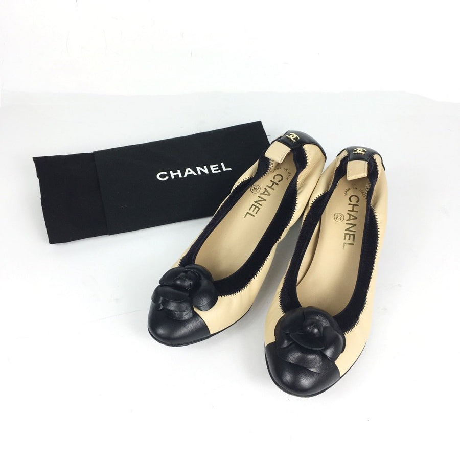 Chanel Camellia Kitten Heels in Beige and Black