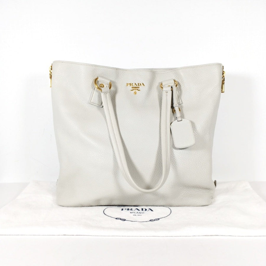 Prada Tote BR3472 in White with gold hardware