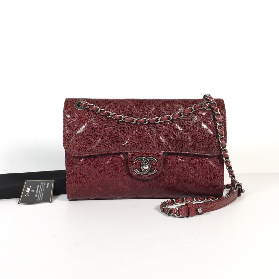 Chanel seasonal flap bag in burgundy with silver hardware
