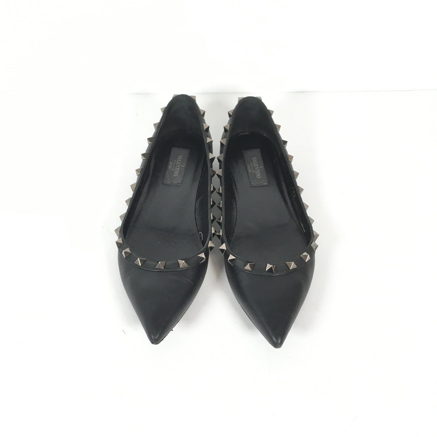 Valentino Rockstuf Flats in Black with silver studs