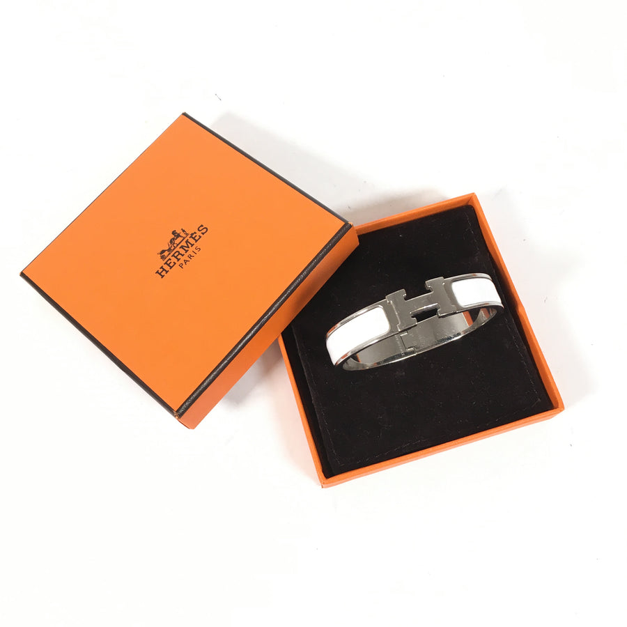 Hermes Clic Clac Bracelet in White with silver