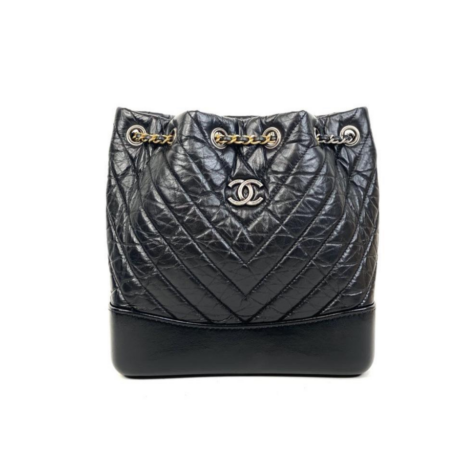 Chanel Chevron Gabrielle Backpack in Black