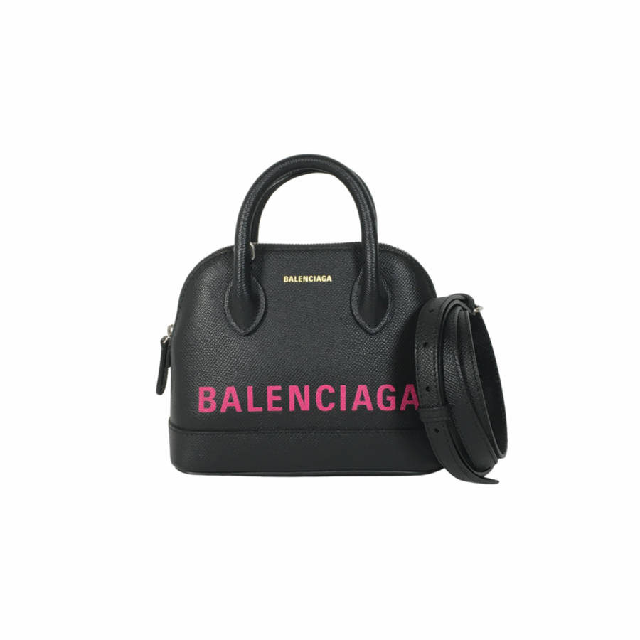 Blanciage Ville XXS Tote Bag in Black with Hot pink lettering