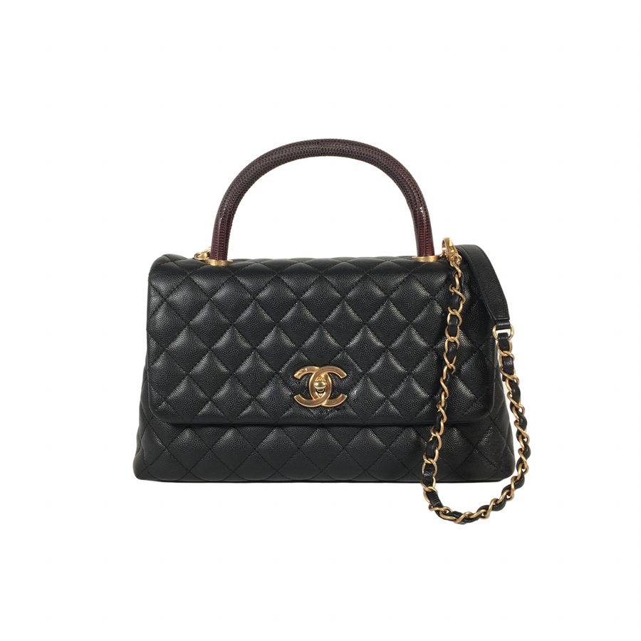 Chanel Lizard Cocohandle in Black