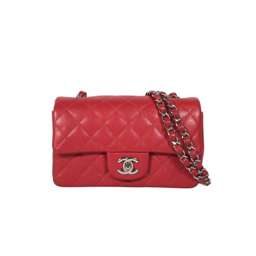Chanel Classic Mini Rectangle Handbag in True Red with silver hardware