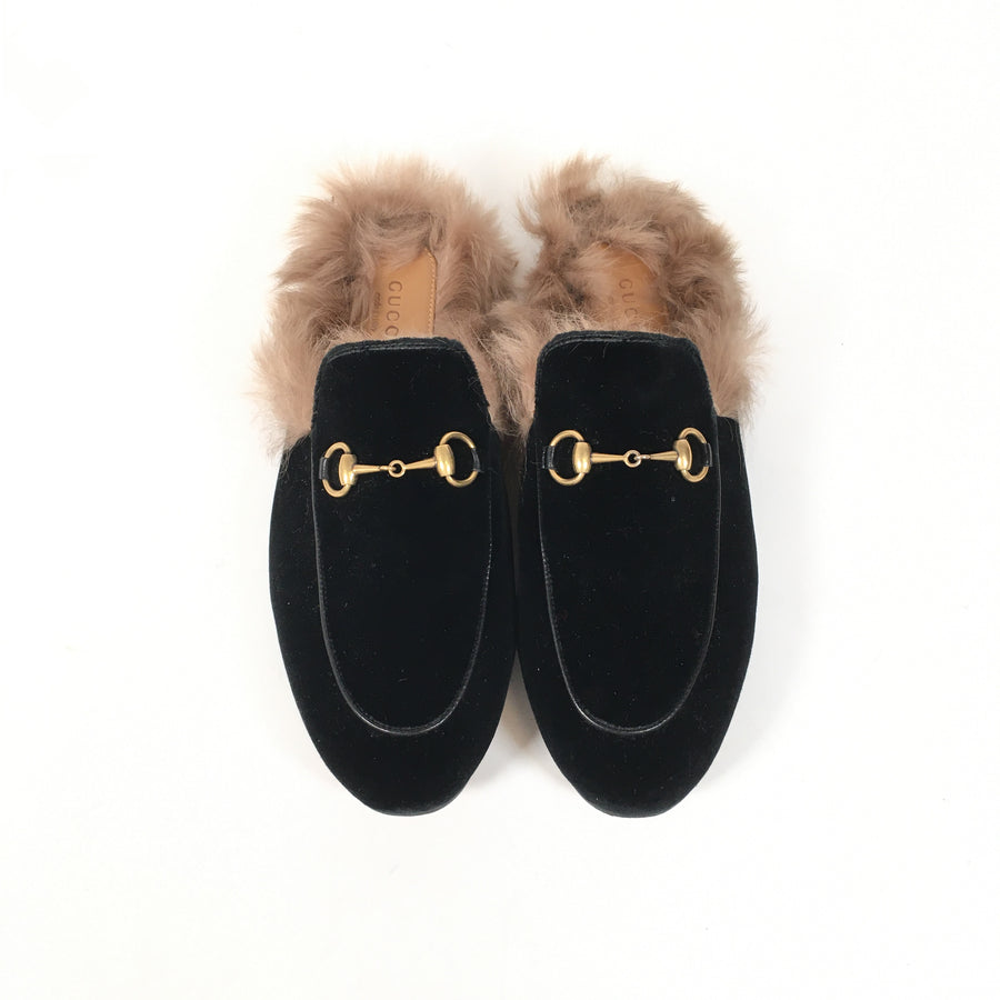 Gucci Princetown Fur Slides in black with brown fur and gold hardware